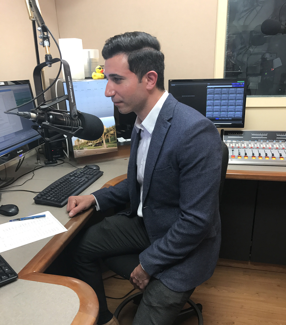 Dr Christoforou recording a radio commercial at the WBLI recording studios
